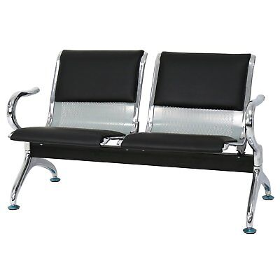 2 -seat Black Leather Executive Side Reception Chair Office Waiting Room Bench