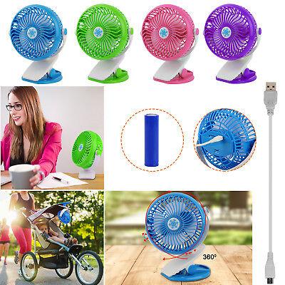 Rechargeable Clip on Mini Desk Fan Battery Operated, Stroller Fan W Mini USB Fan Battery Operated Clip Fan
