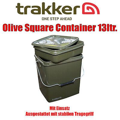 Trakker Olive Square Container 13L Eimer + Einsatz für Boilies Futter Zubehör