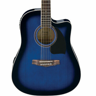 Ibanez PF15ECE PF Performance Series Acoustic/Electric Guitar (Transparent Blue