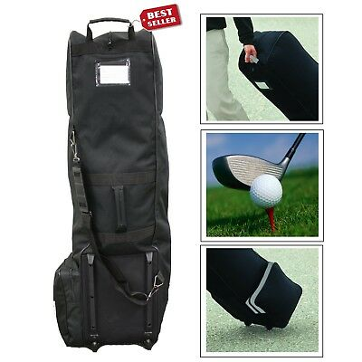 10cc25bb255 Golf Club Bag Travel Cover Heavy Protector Guard Carry Black Rolling Wheels  Case