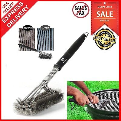 "BBQ Grill Brush Barbecue Grate Cleaner 18"" Steel Wire Bristle Cleaning Tool"