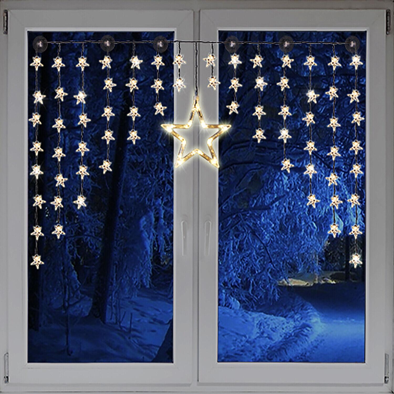 Beleuchtete Weihnacht Lichterkette Fensterdeko Sternenvorhang 90 LED warm weiß