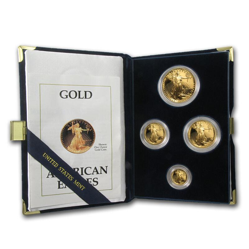 1990 4-coin Proof Gold American Eagle Set (w/box & Coa) - Sku #4892