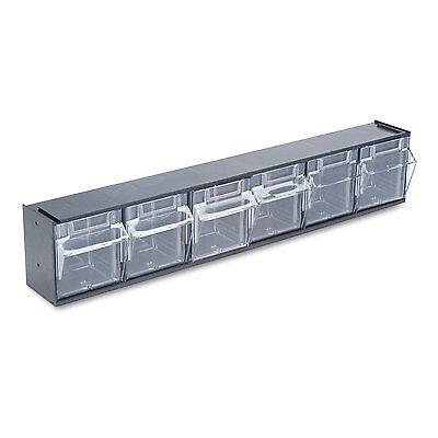 Deflecto Tilt Bin Plastic Storage System w/6 Bins 23 5/8 x 3 5/8 x 4 1/2 Black