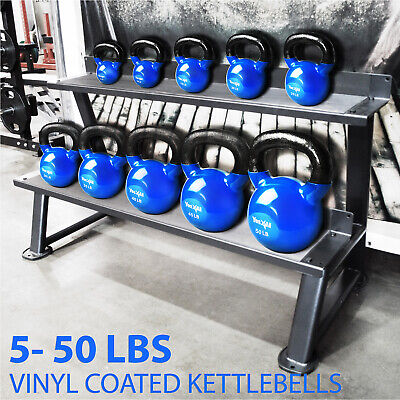 YES4ALL SINGLE SOLID CAST IRON KETTLEBELL PVC COATED 5-50 LBS WEIGHTS WORKOUT