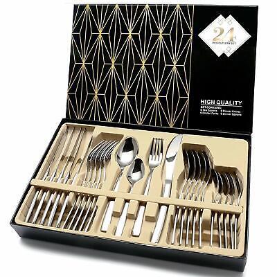 Modern Flatware Set Kitchen Silverware Large Cutlery Stainless Steel 24 Piece