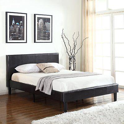 Used, Deluxe Espresso Brown Bonded Leather Platform Bed Frame Wood Slats Full Size Bed for sale  Los Angeles