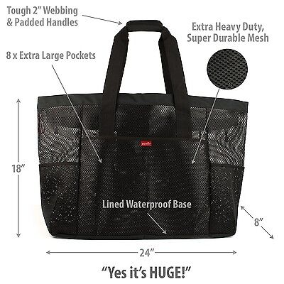Oahu XL Mesh Beach Bag Tote, Zippered, 8 Lg Pockets & waterproof cellphone case