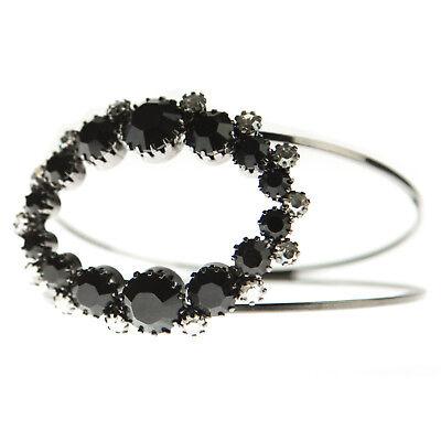 JOOMI LIM Black Double Band Oval Crystal Bangle Bracelet NEW