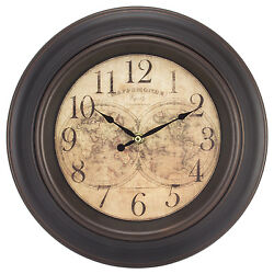 20837 Equity by La Crosse 12 World Map Silent Sweep Wall Clock - Refurbished