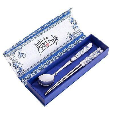 2 Pcs Elegant Oriental Inspiration Silver Stainless Steel Chopsticks & Spoon ...
