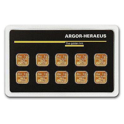10 x 1 gram Argor Heraeus Gold Bar - In Assay - SKU #79722