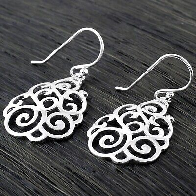 Filigree Hanging Earrings (925 Sterling Silver Polished Filigree Curved Teardrop Hanging Earrings )