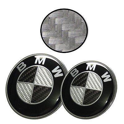 NEW 82mm + 74mm Black Silver Carbon Fiber Emblems Trunk Hood Badge Set FOR BMW