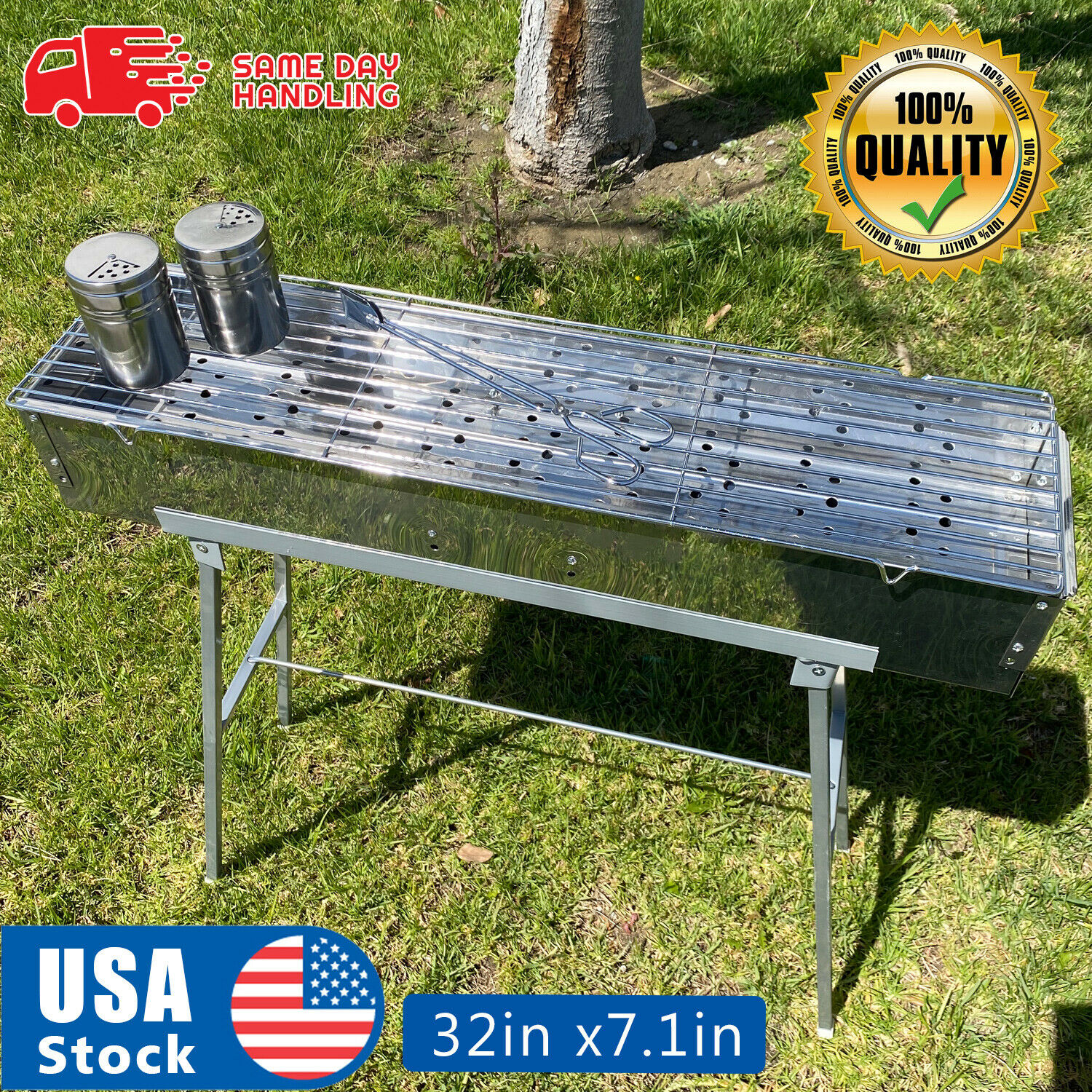 32″ Party Griller Stainless Steel Charcoal Grill Yakitori BBQ Garden Lamb Kebab Barbecues, Grills & Smokers