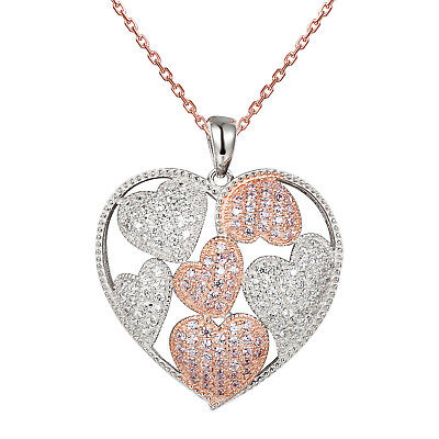 2 Tone Diamond Heart - 2 Tone Heart Pendant Silver Rose Gold Tone 925 Silver Simulated Diamond Necklace