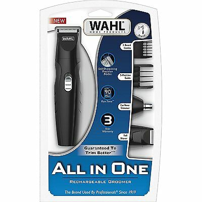 WAHL All In One RECHARGEABLE GROOMING KIT Shaver Ear Nose Trimmer 3 Beard Combs for sale  Shipping to India