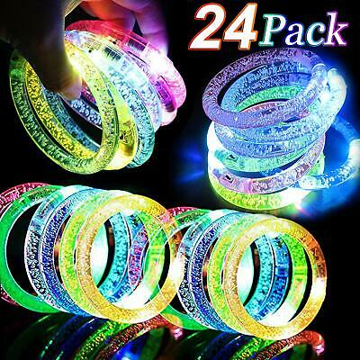 Glow Party Favors (24 Pack Glow In The Dark LED Bracelets Party Favors Flashing Light Up)