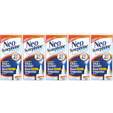 5 Pack Neo-Synephrine Nasal Spray, Extra Strength Formula, 0.50 Ounces Each