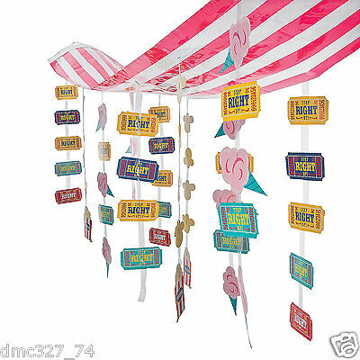 CARNIVAL Circus Big Top Tent Party Decoration Dangling STRIPED CEILING COVER - Circus Carnival Decorations