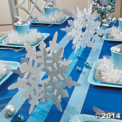2 White Glitter Snowflake Centerpieces Holiday TableTop Decorations U WILL LOVE!](Snowflake Centerpieces)