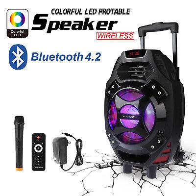 New 18  Bluetooth Portable Karaoke Party Pa Dj Speaker System W Wireless Mic