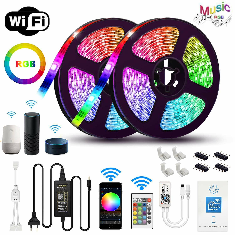 32.8ft 5050 RGB LED Strip Light Kit WiFi Phone Controller Al
