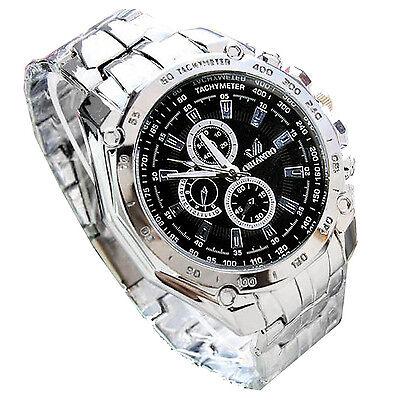 ORLANDO Mens Stainless Steel Luxury Sport Analog Quartz Wrist Watch Silver AD