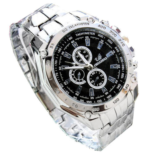 ORLANDO Mens Stainless Steel Luxury Sport Analog Quartz Wrist Watch Silver AD
