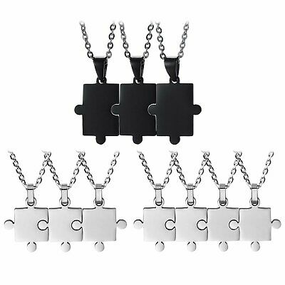 Personalized Custom Stainless Steel Puzzle BFF Necklace Best Friend (Custom Best Friend Necklaces)