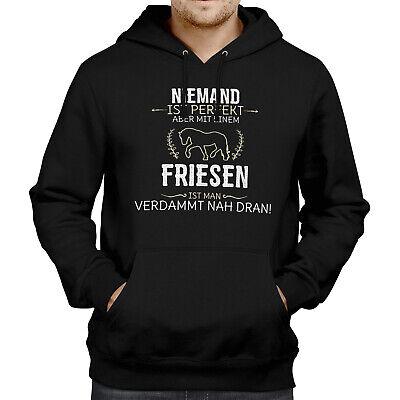 Niemand ist perfekt Friese Herren Kapuzen Pullover Geschenk Idee Pferd Reitsport
