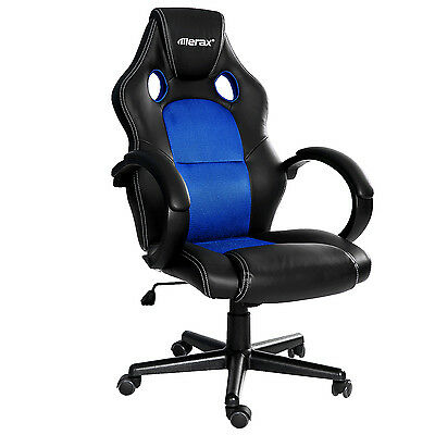 Merax Racing Style Office Gaming Chair High Back Pu Leather Mesh Ergonomic Blue