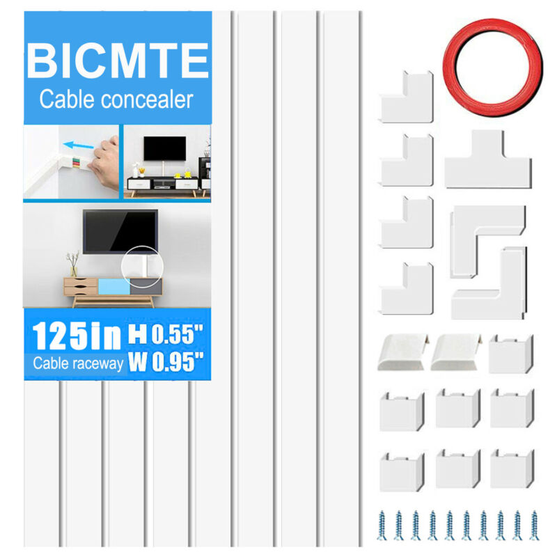 125inch Wall Mount TV Cord Cover Cable Hider Raceway Paintable Wire Organizer