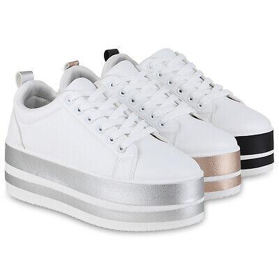 Damen Plateau Sneaker Turnschuhe Schnürer Metallic Plateauschuhe 833689 Schuhe