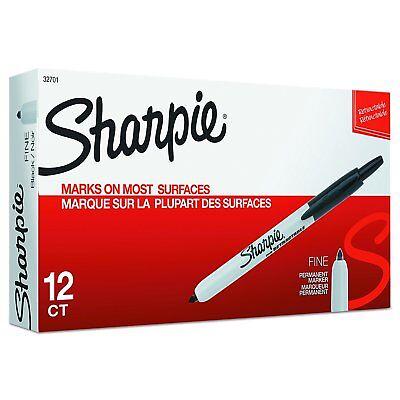 Sharpie 32701 Black Retractable Permanent Markers Fine Point 12 Pens Per Box