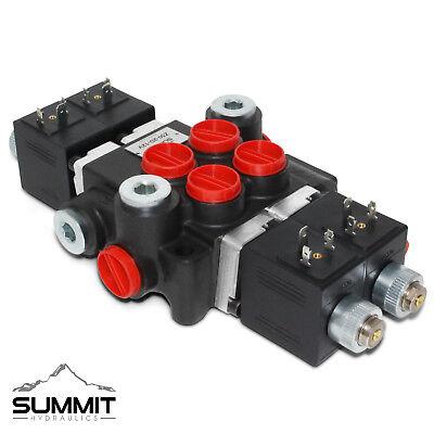 Hydraulic Monoblock Solenoid Motor Control Valve 2 Spool 13 Gpm 12v Dc