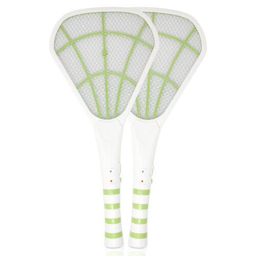 2PK USB Rechargeable Electric Bug Zapper 3600V, Mosquito Killer Racket, Green