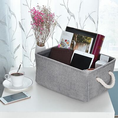 Fabric Storage Baskets and Bin, Organizer Set for Home, With Rope Handles, Grey