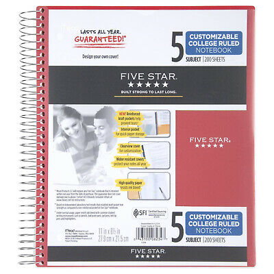 Five Star Spiral Notebook 5 Subject College Ruled Paper 200 Sheets 11 X 8-1