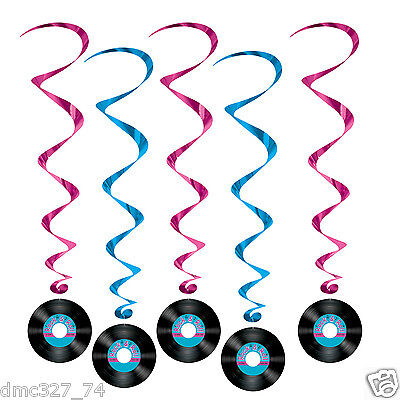 1950s 50s Sock Hop Grease Party Decoration Hanging ROCK & ROLL Record WHIRLS - 50s Sock Hop Decorations