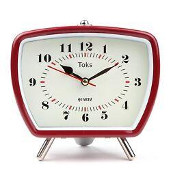 Lilys Home Vintage/Retro Inspired Analog Alarm Clock Red 5.5