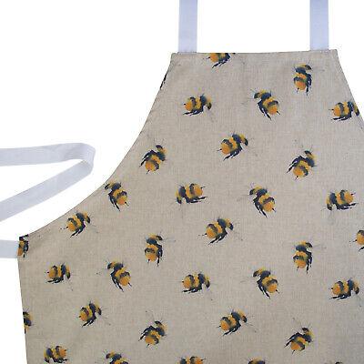 Cute Bumblebee Apron. Black & Yellow Bees, Linen Feel. 100% Cotton. Baking Gift!