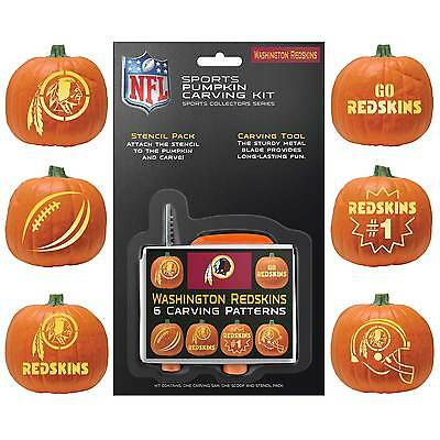 Washington Redskins Halloween Pumpkin Carving Kit NEW!Stencils for Jack-o-latern (Halloween Pumpkin Carving Stencils)