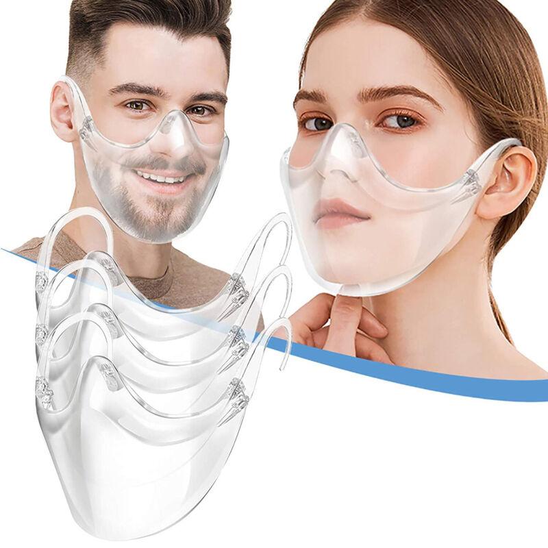 Transparent Reusable Washable Face Shield Mask Clean Visible Expression Breath
