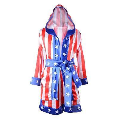 Rocky Balboa Boys Apollo Creed Boxing American Flag Costume Robe Johnson Film (Apollo Creed Costume)
