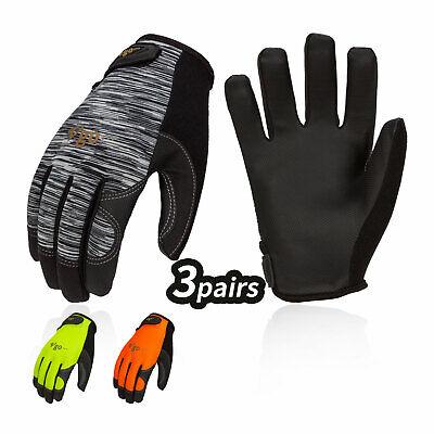 Vgo 3pairs Touchscreen Pu Leather Work Gloveslight-duty Mechanic Glovespu8718