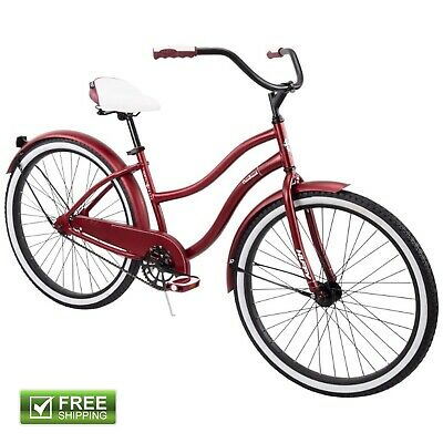 "Red Cruiser Bike Huffy 26"" Steel Women Comfort City Beach Commuter Bicycle New! Huffy Steel Bicycle"