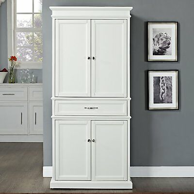 Crosley Parsons Pantry Cabinet with 5-Shelves & 1-Drawer in White, CF3100-WH New