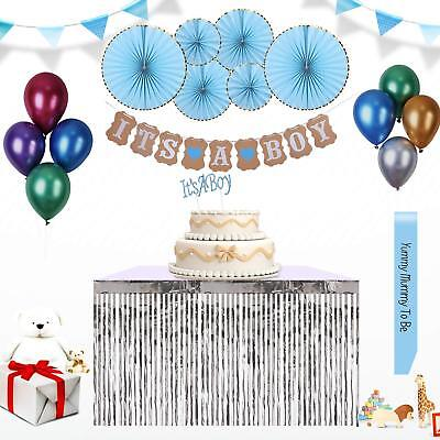 Baby Shower Decorations for Boys Party Supplies Banner Balloon Sash Fans Topper ](Party Decorations For Boys)